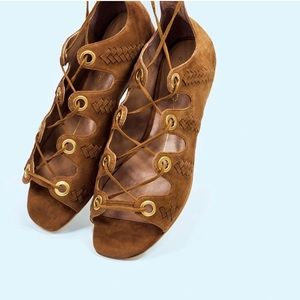 Electra Cognac Suede Braided Lace Up Flats